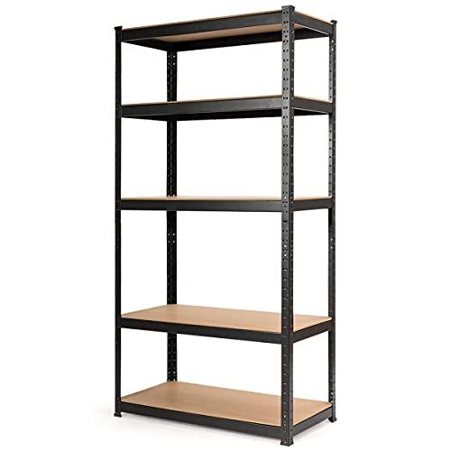 Giantex Storage Shelving Rack Utility Shelf 5-Tier Heavy Duty 2750LBS Garage Shelves Shelving Unit Bolt-Free Assembly Adjustable Shelves, 36''L X 18''W X 72''H (1)
