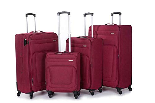 Extra Large 4 Wheel Spinner Soft Shell Suitcases Expandable Luggage Trolley (Burgundy, 20)