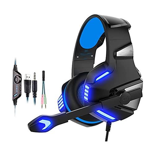 XTZJ Auriculares de juego para PS4, PC, sobre auriculares para juegos de orejas con micrófono de cancelación de ruido, luz LED, Redondeo, Redondeo, Memoria suave Orejeras para computadora portátil