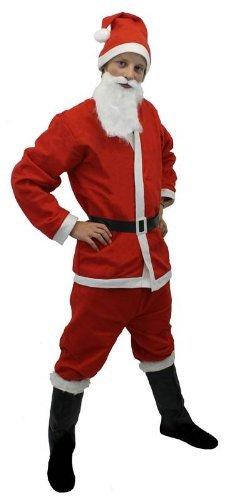 I LOVE FANCY DRESS LTD Déguisement de père Noël en 5 pièces avec la Veste Rouge + Le Pantalon + la Barbe + Le Bonnet + la Ceinture pour Adulte. Ideal pour Les fêtes de Fin d'année.