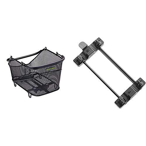 Racktime Unisex– Erwachsene Baskit Trunk Fahrradkorb, schwarz, 1size & Gepäckträger Adapter Snap-it Sytem, schwarz, One Size