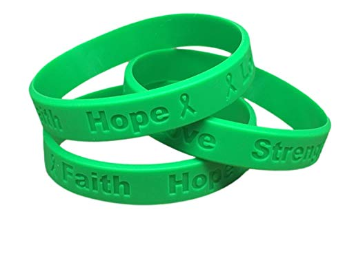 10 Green Ribbon Awareness Bracelets 100% Medical Grade Silicone - Latex and Toxin Free - (10 High Quality Bracelets) Support Kidney Cancer, Bipolar, Organ Donation, Cerebral Palsy, Liver Awareness