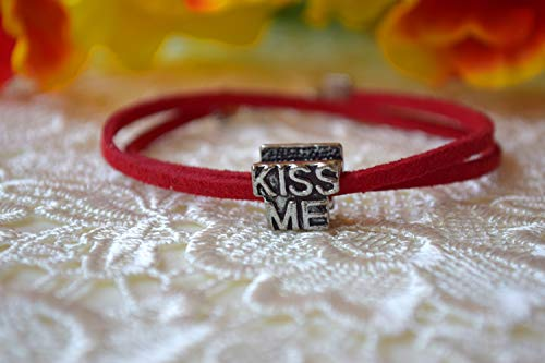 Kiss Me Küss mich Armband Pandora Charm Red String Leder Liebe Geschenk Freund Freundin Unisex Armbänder Herren Damen Teens Teen Boy verstellbaren Schmuck