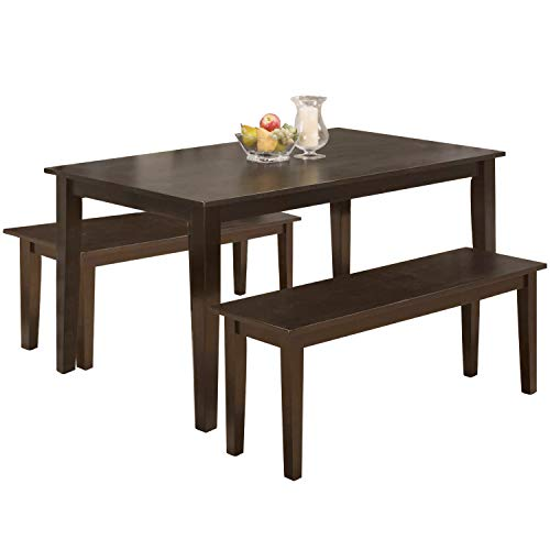 Modern 45 Inch Dining Table Set Solid Wood Kitchen Table with Two Benchs Dining Room Table Set for Small Spaces Table Home Furniture Rectangular