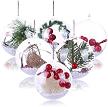 Koogel 20 Pcs 3Inch Clear Ornaments Balls, DIY Ornament Ball Christmas Transparent Ball Baubles Craft Transparent Ball Gif...