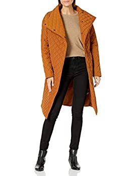 Daily Ritual Women s Quilted Oversized-Fit Long Coat Caramel Large