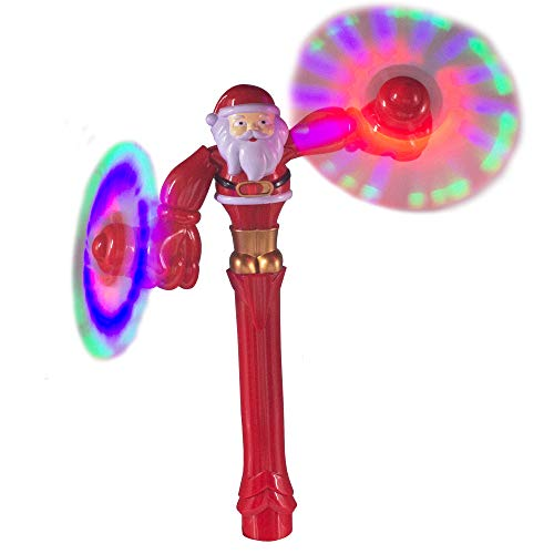 Windy City Novelties LED Light Up Christmas Santa Dual Spinner Wand Toy for Kids Stocking Stuffer