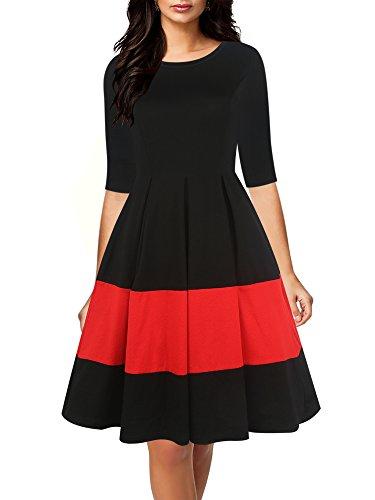 oxiuly Women's Vintage Half Sleeve O-Neck...