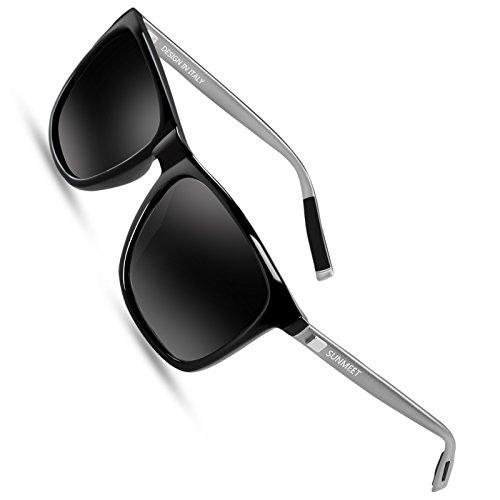 SUNMEET Gafas de sol Hombre Polarizadas Clásico Retro Gafas de sol para Hombre UV400 Protection S1001(Negro/Pistola)