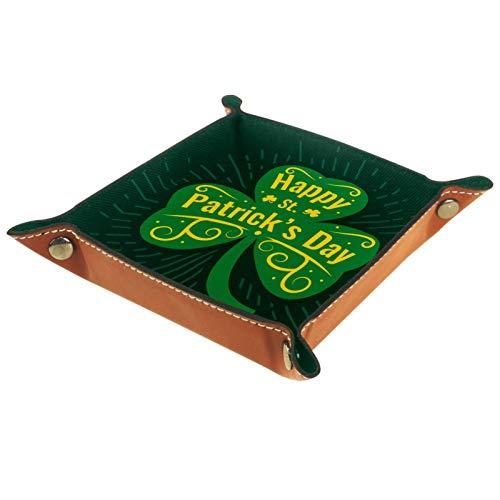 ZDL Happy St Patricks DayStorage Box Caja de almacenamiento organizador para llaves, teléfono, monedas, cartera, relojes, etc. 20,5 x 20,5