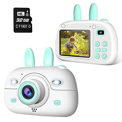 2NLF Cámara para Niños 1080P 2.4' LCD Cámara de Fotos Digital para Niños con Tarjeta de Memoria Micro SD 32GB Cámara Infantil Regalos Juguete para 3 a 12 Años Niños y Niñas -Azul
