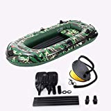 Nnvsa 10ft Inflatable Boat Series Touring Kayak Canoe Boat Set 4-Person PVC Inflatable Rafting Fishing Dinghy Tender Pontoon Boat with Paddles and Air Pump for Water Sports Fun
