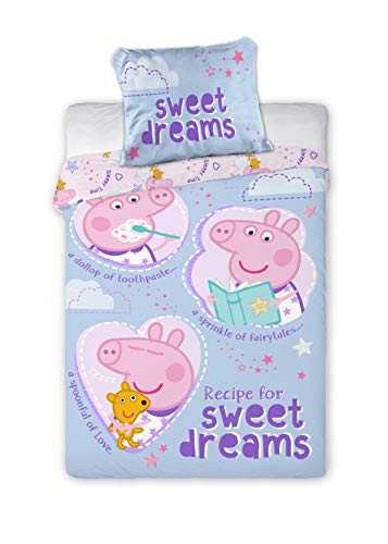 Kinderbettwäsche Peppa Pig 2-teilig 100% Baumwolle 40x60 + 100x135 cm mit Reißverschluss (Peppa blau)