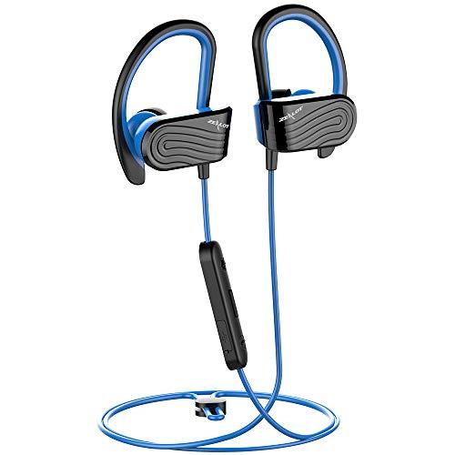 Cuffie Bluetooth Sport,Auricolari Bluetooth Sport Senza Fili Wireless Stereo in-Ear Resistenti al Sudore per Ciclismo Running,Microfono Incorporato,con Borsa da portare,per Samsung Huawei,ecc-Blu