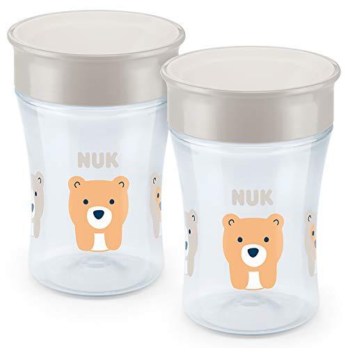 NUK Magic Cup Trinklernbecher 2er-Vorteilspack, 360° Trinkrand, auslaufsicher abdichtende Silikonscheibe, 8+ Monate, BPA-frei, 230 ml, Bär (grau)