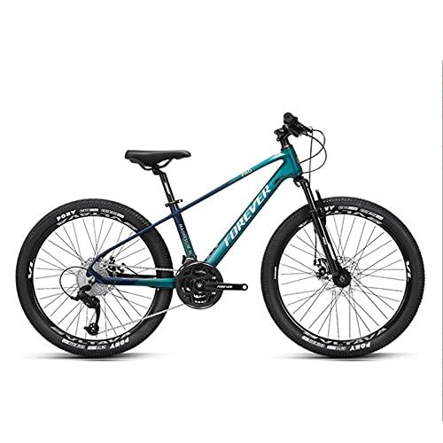 GREAT Vélo VTT, High School Student Vélo De Montagne, Vélo 27 Vitesses 24 Pouces De 24 Pouces Roues à Double Suspension Commuter Bike Charge Jusqu'à 150 Kg(Color:Vert)