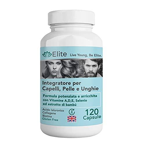 Fórmula antiedad para piel, cabello y articulaciones: suplemento a base de ácido hialurónico, colágeno y biotina. Contra las arrugas, la caída del cabello, las uñas frágiles y los dolores artic