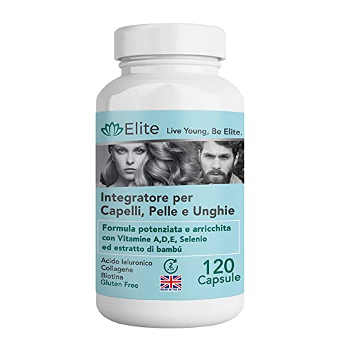 Integratore Elite per Capelli, Pelle, Unghie e Articolazioni. 120 Caps. Formula Ultra Forte Antirughe e...