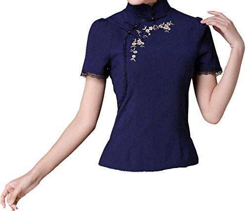 Yue Lian Damen Sommer Elegant Retro Qipao Bluse Mit Spitze Kurzarm Oberhemd Tops(China XL : EU 38,Marineblau)