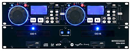 Pronomic CDJ-230 Doppel DJ CD Player mit USB & SD (2-Kanal DJ Desk mit separatem Controller, Pitch Bender und DSP-Effekte, Seamless Loop, 19