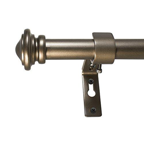 Decopolitan Cap Single Telescoping Drapery Rod Set, 72 to 144 inches, Bronze