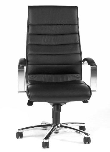 Topstar Designer-Luxus-Chefsessel, Bürostuhl, Leder, schwarz