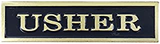 Usher Die Struck Soft Epoxy Black Enamel Brass Plate Lapel Pin - Package of 12, Polybagged