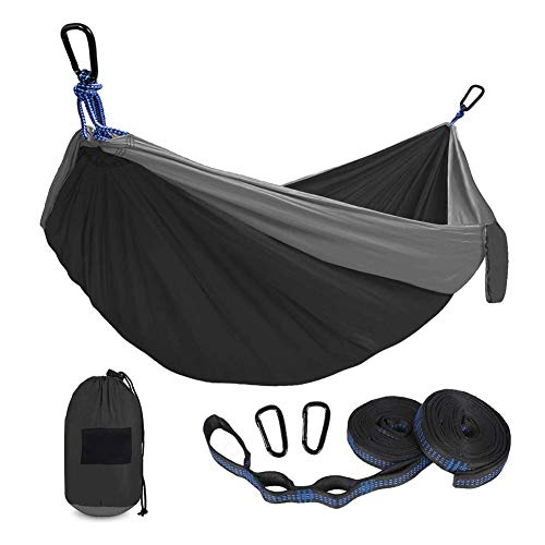 Travel Camping Hammock, Lightweight Portable Hammocks & Loungers, 500lb Load Capacity,8.8ftL X 4.6ft Breathable,Quick-drying Parachute Nylon | 2 X Premium Carabiners,2 X Nylon Slings Included