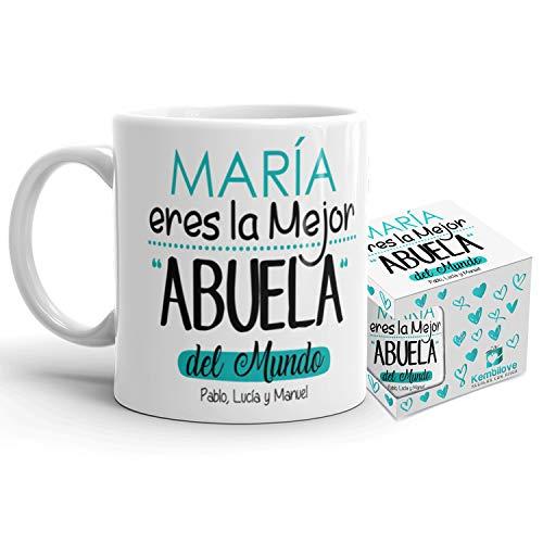 Kembilove Taza de Café para Abuela – Taza de Desayuno Eres la Mejor Abuela con Nombre Personalizado – Taza de Café y Té para Abuelas – Taza de Cerámica Impresa – Tazas de de 350 ml para Abuelas