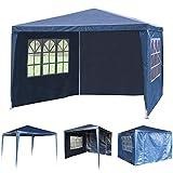 SavingPlus 3Mx3M PET Gartenpavillon-Markisen-Party-Hochzeits-Zelt mit voller Seitenwand (Blau)