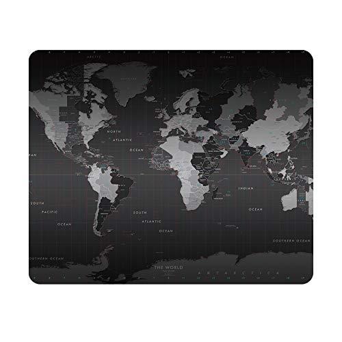 Gaming Mauspad, Weltkarte Mauspad mit Genähten Kanten, Wasserdicht und rutschfest Office Mauspad Computer Zubehör für Laptop Computer PC,schwarz