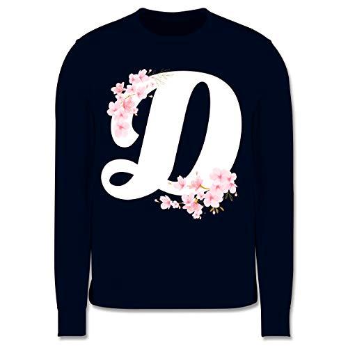 Shirtracer Anfangsbuchstaben Kind - Buchstabe D mit Kirschblüten - 128 (7/8 Jahre) - Navy Blau - Geschenk - JH030K - Kinder Pullover