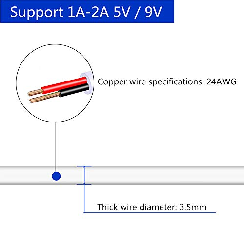 "DZYDZR 2 Stück 5V USB auf DC 5V Power Kabel – USB A 2,1mm/5,5mm Adapterkabel 1m / 3ft Weiß ""MEHRWEG"""