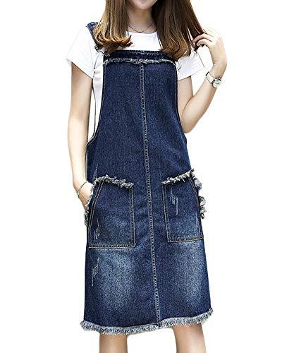 LaoZanA Damen Jeans-Latzkleid Jeansrock Jeans Trägerkleid Freizeitkleid Denimrock 4XL