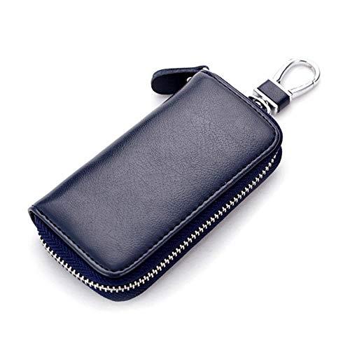 LinZX Echtes Leder-Key Wallet Männer & Frauen-Auto-Schlüssel-Beutel-Multi-Funktions-Schlüsseletui Damen Haushälterin Key,Dark Blue