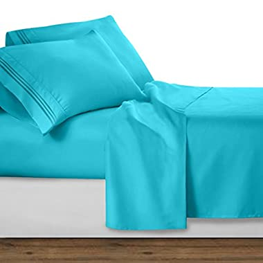 Clara Clark Premier 1800 Collection Deluxe Microfiber 3-Line Bed Sheet Set, Beach Blue, King Size