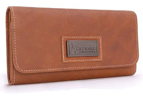 Catwalk Collection Handbags - Vera Pelle - Borsellino/Portafoglio/Portamonete da Donna - RFID Protezione - Scatola Regalo - Gemma - MARRONE CHIARO - RFID
