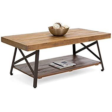 Best Choice Products Living Room Acacia Rustic Wooden Cocktail Coffee Accent Table Decor w/Sturdy Metal Legs, Bottom Storage Shelf - Brown