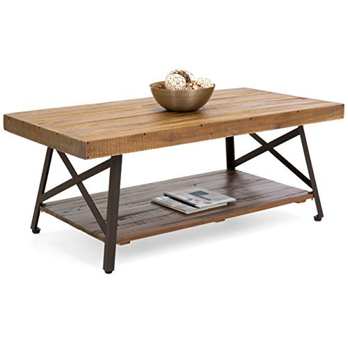 Best Choice Products Living Room Acacia Rustic Wooden Cocktail Coffee Accent Table Decor w/Sturdy Metal Legs, Bottom Storage Shelf, Brown