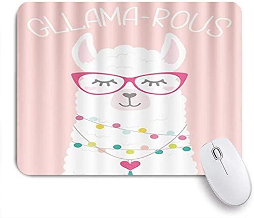HASENCIV Alfombrilla de Ratón,Cute Llama Gllama-Rous Doodles Lettering The Sleeping Llama con Collar de luz,Alfombrilla de ratón Gaming,Base de Goma Antideslizante,Mouse Pad para Oficina 24 x 20 cm