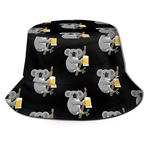 popluck Koala Trinken Bier Design für Australien Liebhaber Unisex Bucket Hut Fischerhut Sonnenhut Faltbarer 3D Druck Outdoor Strand Hut