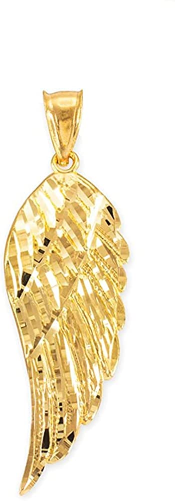 10K Gold Textured Single Angel Wing Charm Pendant - Choice of Metal