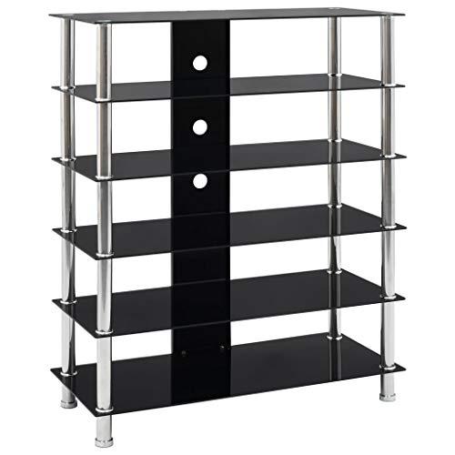 Tidyard HiFi-Tisch TV Rack HiFi Regal St?nder Fernsehschrank mit 5 Glas-Regalb?den Schwarz Sicherheitsglas und Edelstahl 90 x 40 x 113 cm Sicherheitsglas + Edelstahl,Schwarz