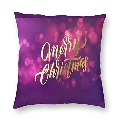 MAYUES Funda de cojín Letras de Navidad y Vacaciones de Navidad Brillantes Funda de Almohada Decorativa para el hogar Sala de sofá 50x50cm