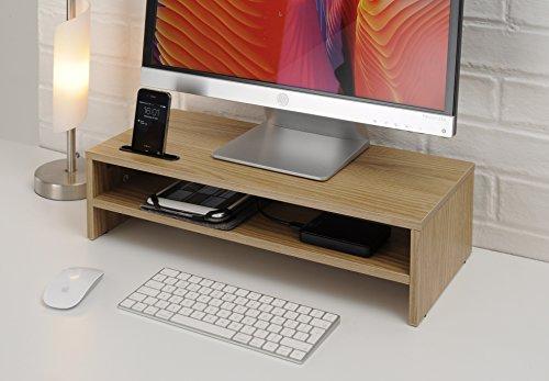 TTAP Oak Wood Two Shelf Laptop Stand/TV Desk Stand/PC Monitor Riser/Desk Organiser with Smart Phone Holder / 54cm L x 24.5cm D x 14.4cm H