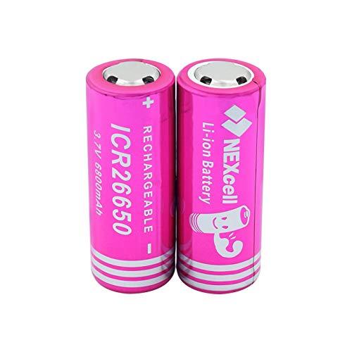 ndegdgswg 3.7 V Icr 26650 6800 mAh batería de la célula de litio, recargable para linterna led linterna faro 2 piezas