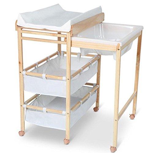 Table à Langer en Bois Massif, Table à Langer Table de Massage, Support de Douche Pliant en Une pièce, Envoyer Coussin de Massage Envoyer la Taille de la Baignoire 60 Kg