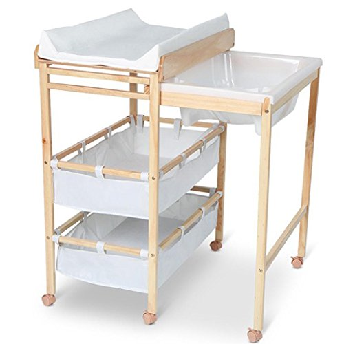 Ali@ Table à langer en bois massif, Table à langer Table de massage, Support de douche pliant en une pièce, Envoyer Coussin de massage Envoyer la taille de la baignoire 60 Kg