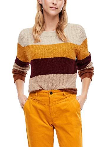 s.Oliver Damen Strickpullover mit Blockstreifen Yellow Stripes 36