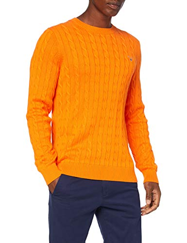 GANT Cotton Cable C-Neck Pullover, Organi di Persimmon, XXXL Uomo